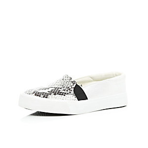 Girls white snake print slip on plimsolls