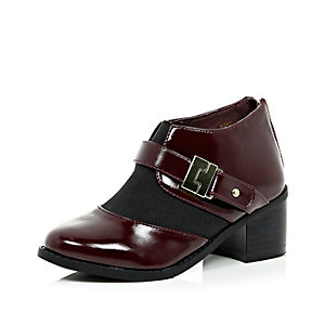Girls red block heel boots