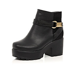 Girls black chunky heeled boots