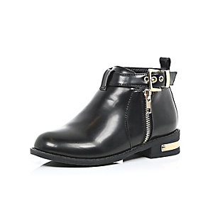 Girls black buckle ankle boots