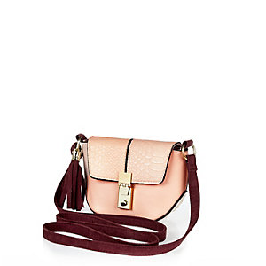 Girls light pink cross body bag