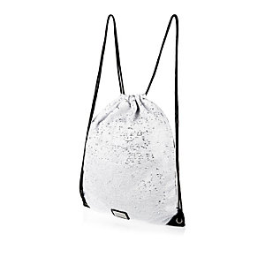 Girls grey sequin drawstring bag