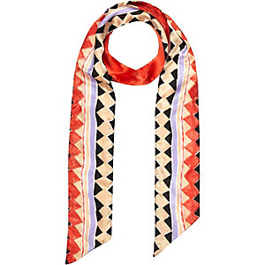 Girls coral geo print scarf