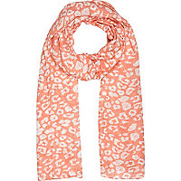 Girls coral animal print scarf