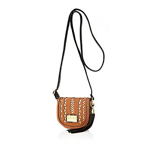 Girls brown laser cut cross body bag
