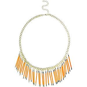 Girls orange beaded collar necklace