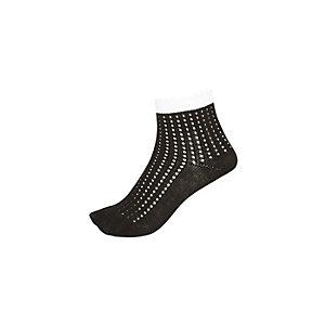 Girls black mesh pontelle contrast trim socks
