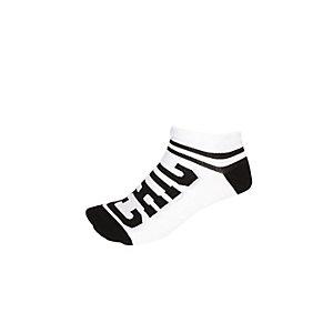 Girls white chic slogan trainer socks
