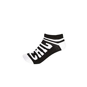 Girls black chic slogan trainer socks