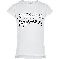 Girls white daydreams slogan t-shirt