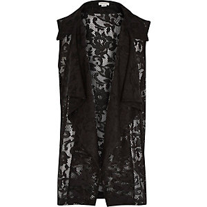 Girls black lace draped cover up