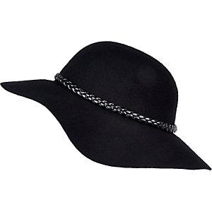 Girls black floppy felt hat