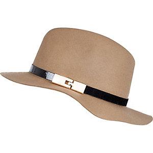 Girls camel brown fedora hat