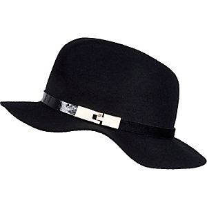 Girls black fedora hat