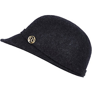 Girls navy felt peak hat