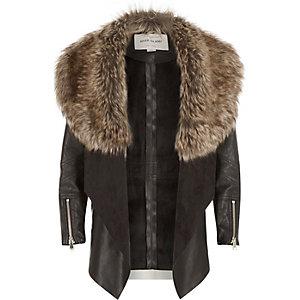 Girls black leather-look draped jacket