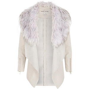 Girls cream leather-look draped jacket