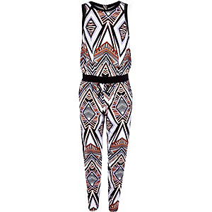 Girls black geometric print jumpsuit