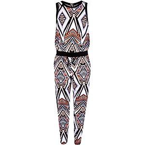 Girls black geometric print jumpsuit