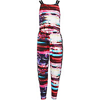 Girls tropical landscape print jumpsuit