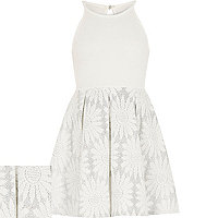 Girls cream jacquard prom dress