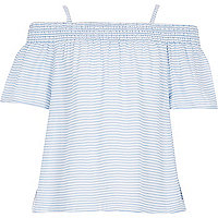 Girls blue cheesecloth stripe bardot top