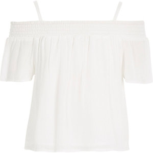 Girls white cheesecloth bardot top