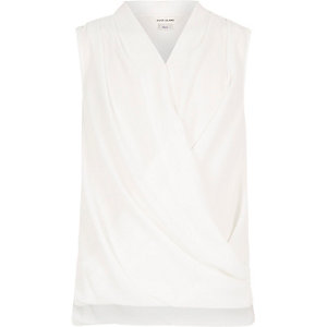 Girls cream sleeveless drape front top