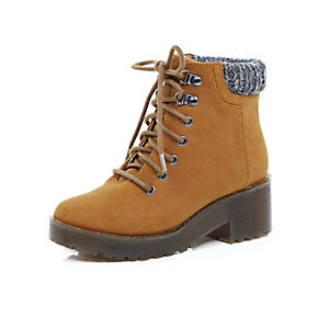 Girls brown heeled ankle boots