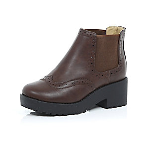 Girls brown chunky Chelsea boots