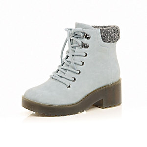 Girls blue heeled ankle boots