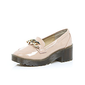 Girls pink patent chunky chain loafers