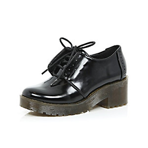 Girls black chunky lace-up shoes