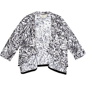 Mini girls black jungle print cardigan