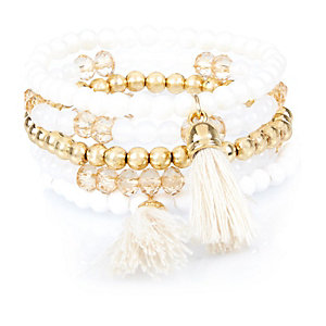 Girls white tassel bracelets pack