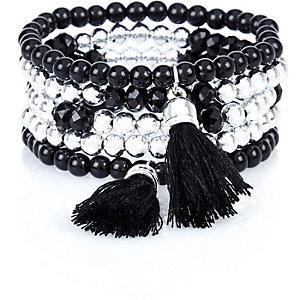 Girls black tassel beaded bracelet pack