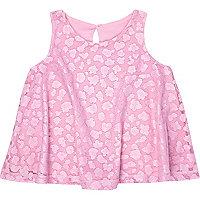 Mini girls pink lace swing vest