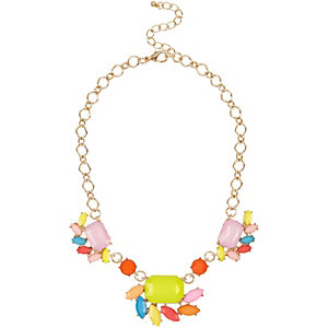 Girls gold tone cluster neon necklace