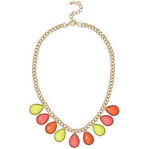 Girls gold tone statement necklace