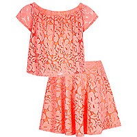 Girls coral lace bardot top skirt outfit