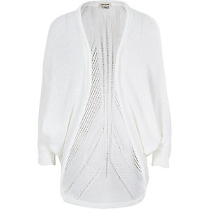 Girls white knitted draped cardigan