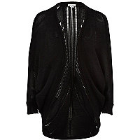 Girls black knitted draped cardigan