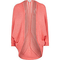 Girls coral knitted draped cardigan