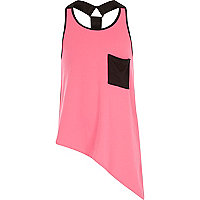 Girls pink asymmetric racer vest