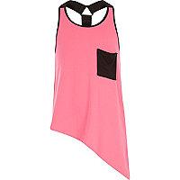 Girls pink asymmetric racer vest