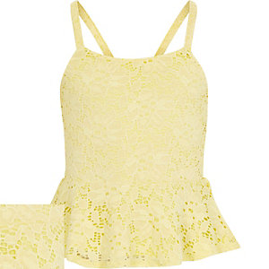 Girls yellow lace peplum top