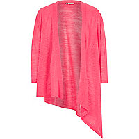 Girls pink asymmetric cardigan