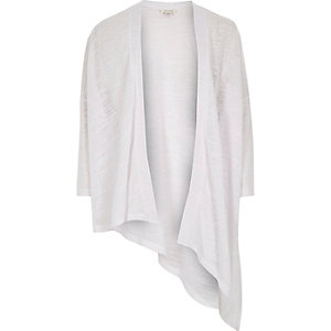 Girls white asymmetric cardigan