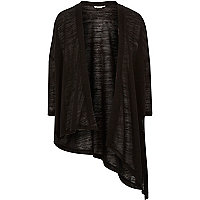 Girls black asymmetric cardigan