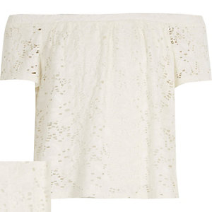 Girls white lace bardot top